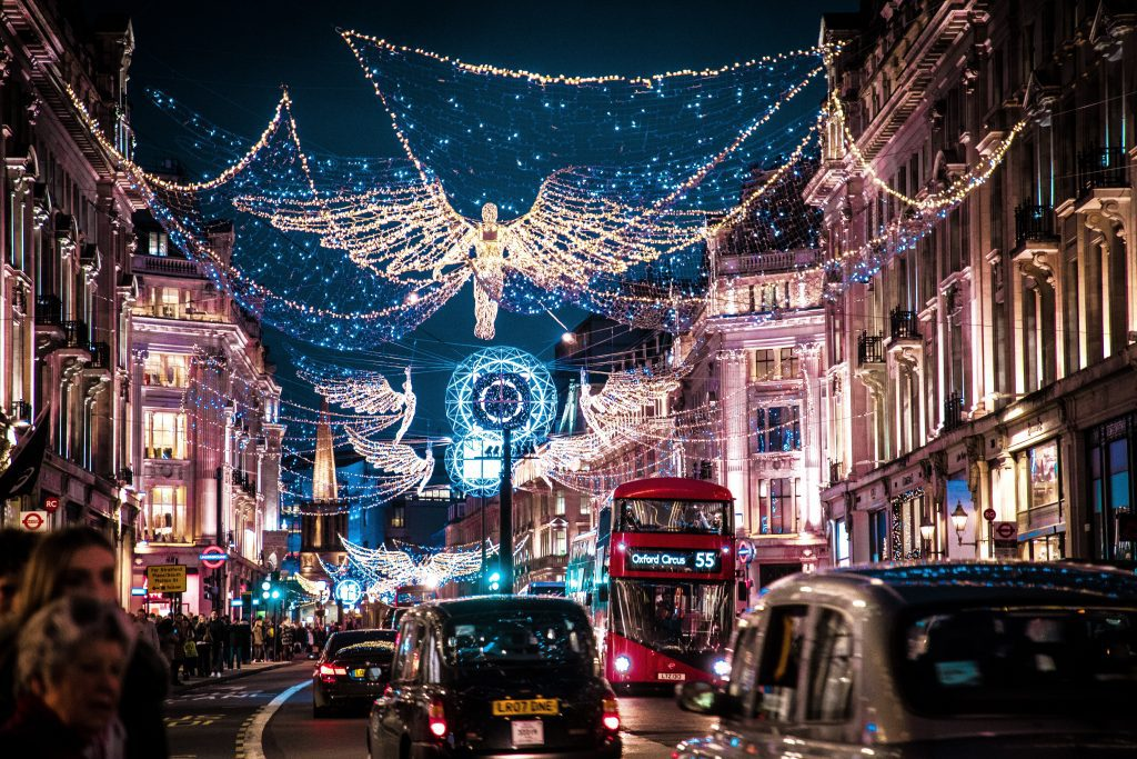 Christmas street lights on a London street
